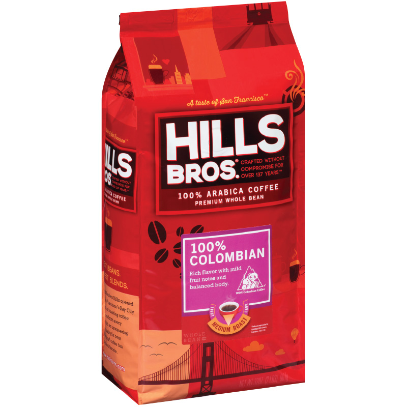 Hills Bros 100% Colombian Whole Bean Bag