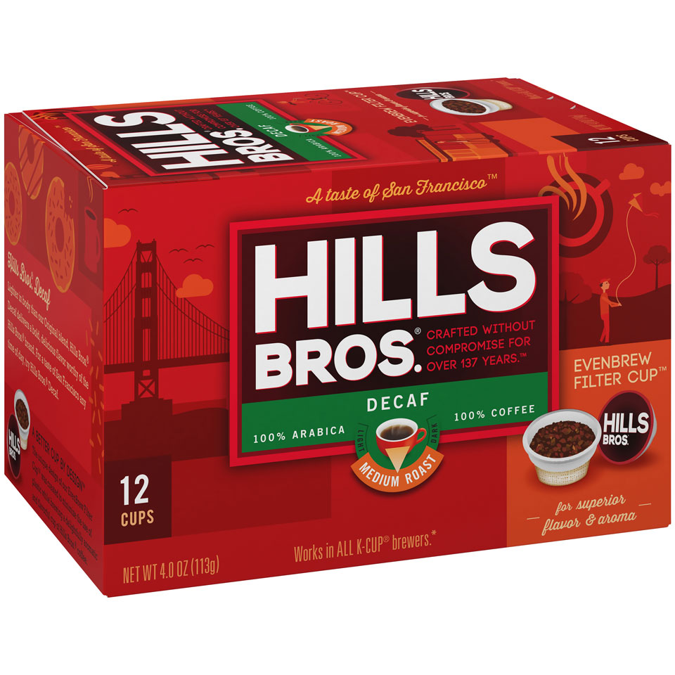 Hills Bros. Decaf Coffee K-Cup Box