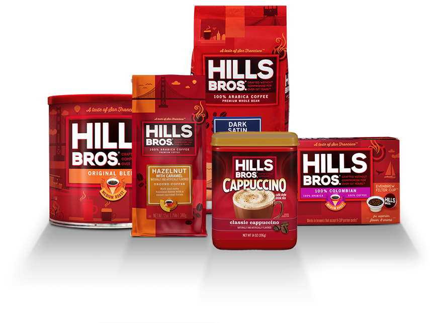 Various Hills Bros coffee products