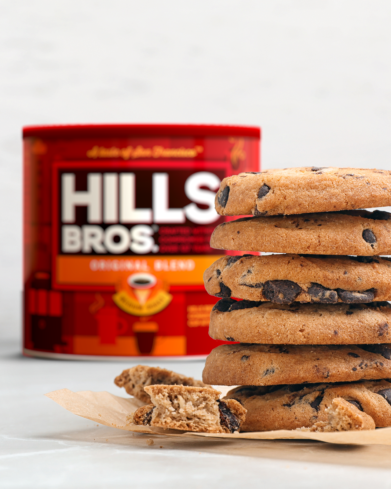 Chocolate Chip Cookies in front of Hills Bros Coffee Tin